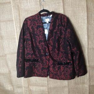 Chicos Jacket Elegant Brocade LS SZ 3 XL Red Black